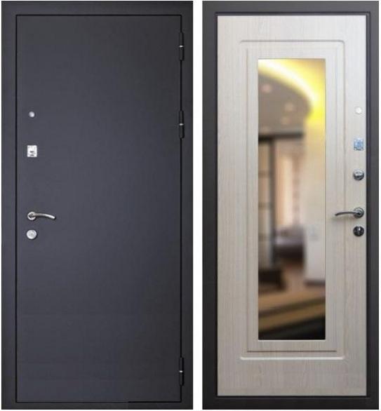 черная входная дверь с зеркалом
