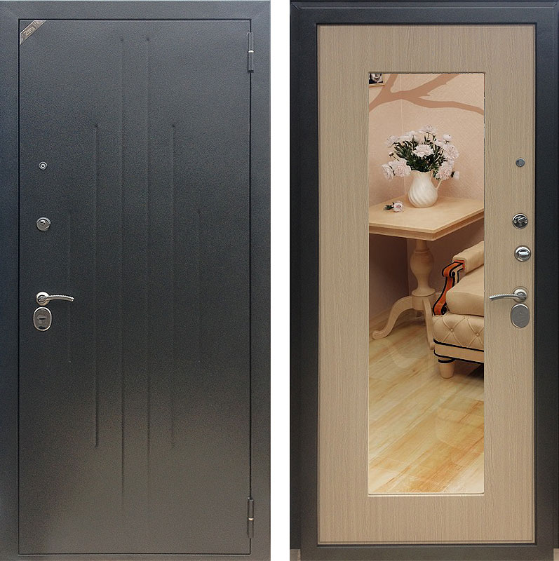 стальные двери зеркальные